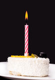 Piece of cake with a candle Stock Photo