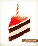 Piece of cake with a candle Royalty Free Stock Images