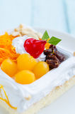 Piece of cake with cashew nut, raisin and Thai sweetmeat made of Stock Images