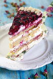Piece of cake with cherries. Royalty Free Stock Photo