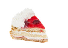 Piece of cake with cherries isolated Royalty Free Stock Photos