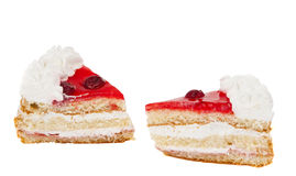 Piece of cake with cherries isolated Royalty Free Stock Photo