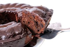 Piece of cake with chocolate glaze Royalty Free Stock Images