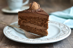 Piece of cake. Piece of chocolate cake Truffle on vintage plate Stock Images