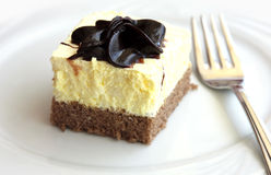 Piece of cake with chocolate on white plate Royalty Free Stock Photos