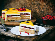 Piece of cake covered with a mirror coating, decorated with cranberries and chocolate decor. Modern Russian honey cake. Royalty Free Stock Photo