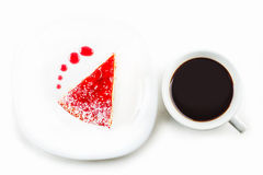 A piece of cake and a cup of coffee Stock Photo
