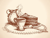 Piece of cake and cup of coffee. Vector drawing Stock Images