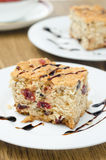 Piece of cake with dried cranberries and nuts Stock Image