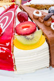 Piece of cake with fresh fruit Royalty Free Stock Images