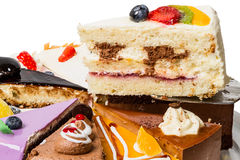 Piece of cake with fruit  close-up. Piece of cake with fruit. Side view close-up Royalty Free Stock Photos