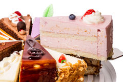Piece of cake fruit soufflé Royalty Free Stock Photos