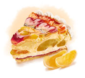 Piece of cake. With fruits and jelly royalty free illustration