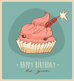 Piece of cake (Happy Birthday card) sweet cupcakes illustration, engraved retro style, hand drawn Stock Photo