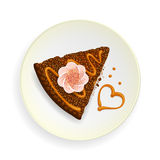 Piece of cake, and heart on dish Royalty Free Stock Photography