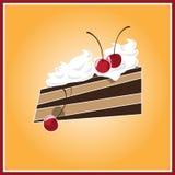 A piece of cake. Illustration of the cake on the orange background Stock Image