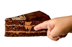 A piece of cake is isolated on a white background royalty free stock photo