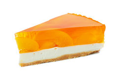 Piece of cake with jelly peach Stock Images