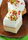 Piece of cake with marshmallows and pistachios Royalty Free Stock Photo