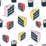 Piece of cake muffin dessert Delicious food seamless background pattern Royalty Free Stock Photos