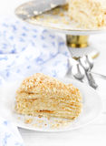 Piece of cake napoleon. On a plate royalty free stock images