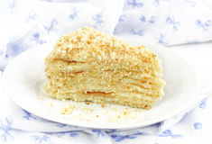 Piece of cake napoleon. On a plate royalty free stock image