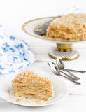 Piece of cake napoleon. On a plate royalty free stock photos