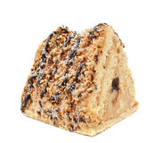 Piece of cake with nuts Stock Images