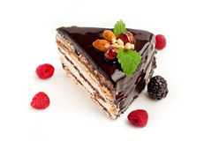 Piece of cake with nuts Royalty Free Stock Photos