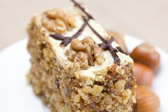 Piece of cake with nuts Stock Photo