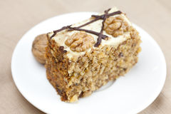 Piece of cake with nuts Royalty Free Stock Image