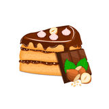 Piece of cake with nuts and chocolate bar. Vector sliced portion  sponge   creamy hazelnut layer, decorated   cream Stock Photos