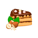 Piece of cake with nuts. Vector sliced portion  sponge   creamy hazelnut layer, decorated  chocolate cream and crushed Stock Images