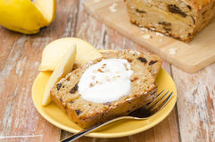 Piece of cake with oatmeal, quince and prunes Stock Images