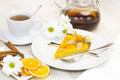 Piece of cake with passion fruit Stock Photo