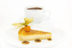 Piece of cake with passion fruit Stock Photos