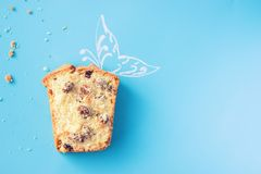 Piece of cake. On blue background. copy space royalty free stock photography