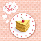 Piece of cake on a plaid background Royalty Free Stock Photo
