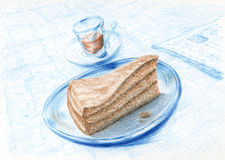 Piece of cake on plate, coffee and newspaper Royalty Free Stock Photography