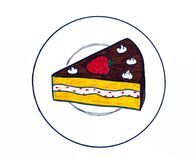 Piece of cake on plate. Markers hand drawing. Stock Images