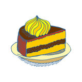 Piece of cake on plate. pie isolated. Dessert on white backgroun Royalty Free Stock Image