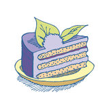 Piece of cake on plate. pie isolated. Dessert on white backgroun Royalty Free Stock Photos