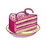 Piece of cake on plate. pie isolated. Dessert on white backgroun Stock Photos