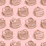 Piece of cake on plate seamless pattern. drawing Pie background. Stock Photos