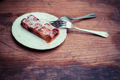 A piece of cake on a plate Royalty Free Stock Photos