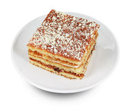 Piece of cake on white plate Stock Images