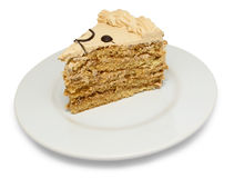 Piece of cake on plate Stock Image
