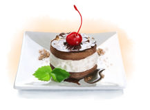Piece of cake on a plate. On a white background royalty free illustration