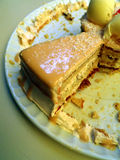 A piece of cake. The remaining slice of a caramel flavour cake Royalty Free Stock Photos