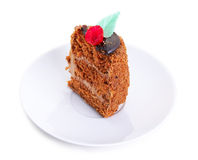 A piece of cake on a saucer Royalty Free Stock Photos